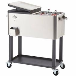 100-Qt High-Quality Stainless Steel Patio Party Wheeled Cool