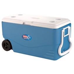 100 Quart, 5 Day Heavy Duty Cooler with Wheels in Blue