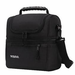 MIER 2 Compartment Lunch Bag for Men Women, Leakproof Insula