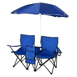 2x Portable Double Folding Chair with Umbrella Picnic Cooler