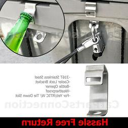 Broutech 316T Stainless Cooler Box Lock Bracket w/ Bottle Op
