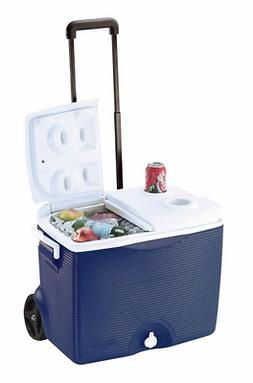Rubbermaid 45 Qt. Wheels Cooler with Cup Holder Ice Chest Bo