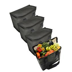 4Set Insulated Cooler Bags,Reusable Grocery Lunch Bag with D