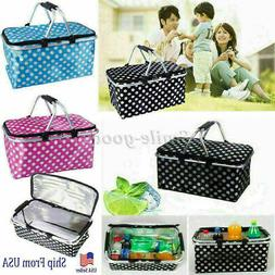 Basket Lunch Picnic Food Folding Insulated Cooler Camping Ba