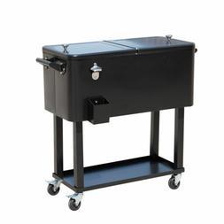 Black 80 Qt Ice Chest Rolling Party Cooler Portable Steel Du