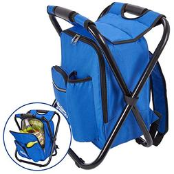 Outrav Blue Backpack Cooler and Stool - Collapsible Folding