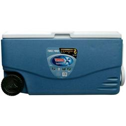 Blue Durable Plastic Xtreme 2-Wheeled 100 Qt. Cooler with Bu