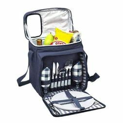 Blue Insulated Picnic Basket - Lunch Tote Cooler Backpack w/