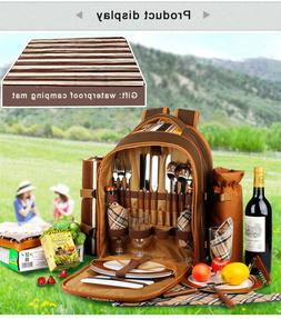 complete picnic cooler backpack with waterproof camping mat