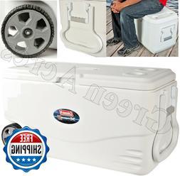 Cooler 100 Quart Wheels On Large Ice Big Rolling Family Size