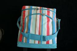 Cooler Bag Rolling Wheels Telescopic Handle Striped Carry St