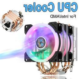 CPU Cooler W/ LED Fan RGB 4 Pipe 4 Pin For Intel AMD LGA  D