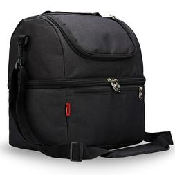 Double-Deck Insulated Cooler Bag For Outdoor Camping Lunch B