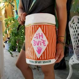 Hi Five Retro style Mini Cooler Bag- 8 Cans - Orange/white