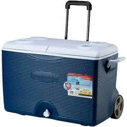 Rubbermaid Ice Chest / Cooler, Blue, 60-quart Wheeled FG2A90