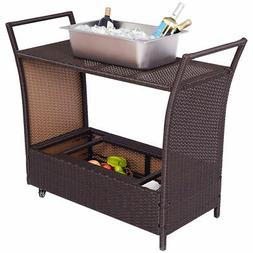 Ice Cooler Patio Rolling Rattan Trolley Cart Dining Storage