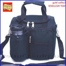 Black Insulated Lunch Bag Cooler Adjustable Straps Removable