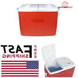 Rubbermaid 50 Qt. Insulated Modern Red Ice Chest Outdoor Cam