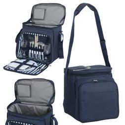 Insulated Picnic Basket Lunch Tote Cooler Bag w/ Flatware Tw