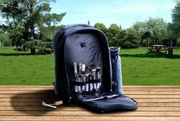 Insulated Picnic Basket Set Lunch Tote Backpack Cooler - Pic