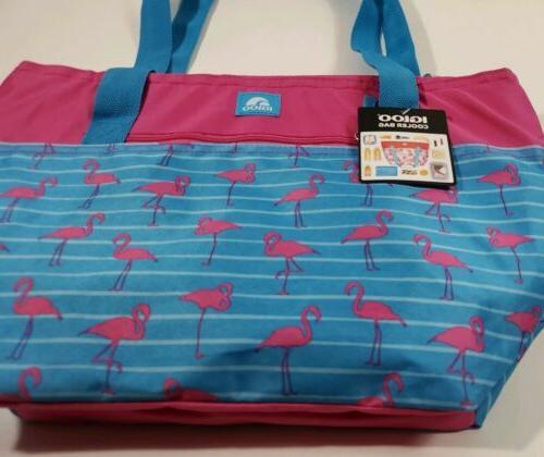 Igloo 30 Capacity Insulated Flamingos Design & Blue