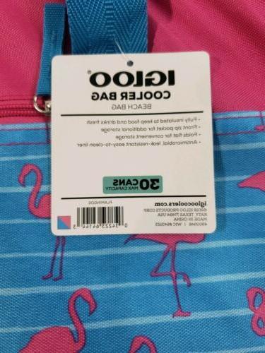 Igloo Beach 30 Can Capacity Flamingos Design & Blue