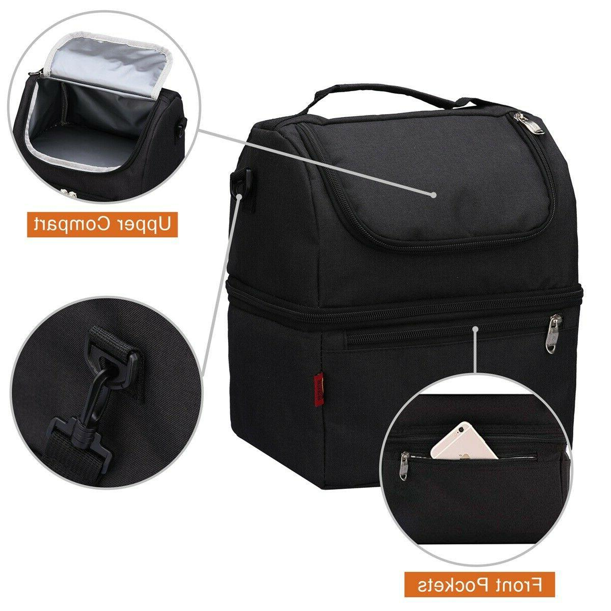 Adult Lunch Box Insulated Lunch Bag Large Tote Bag Double Do