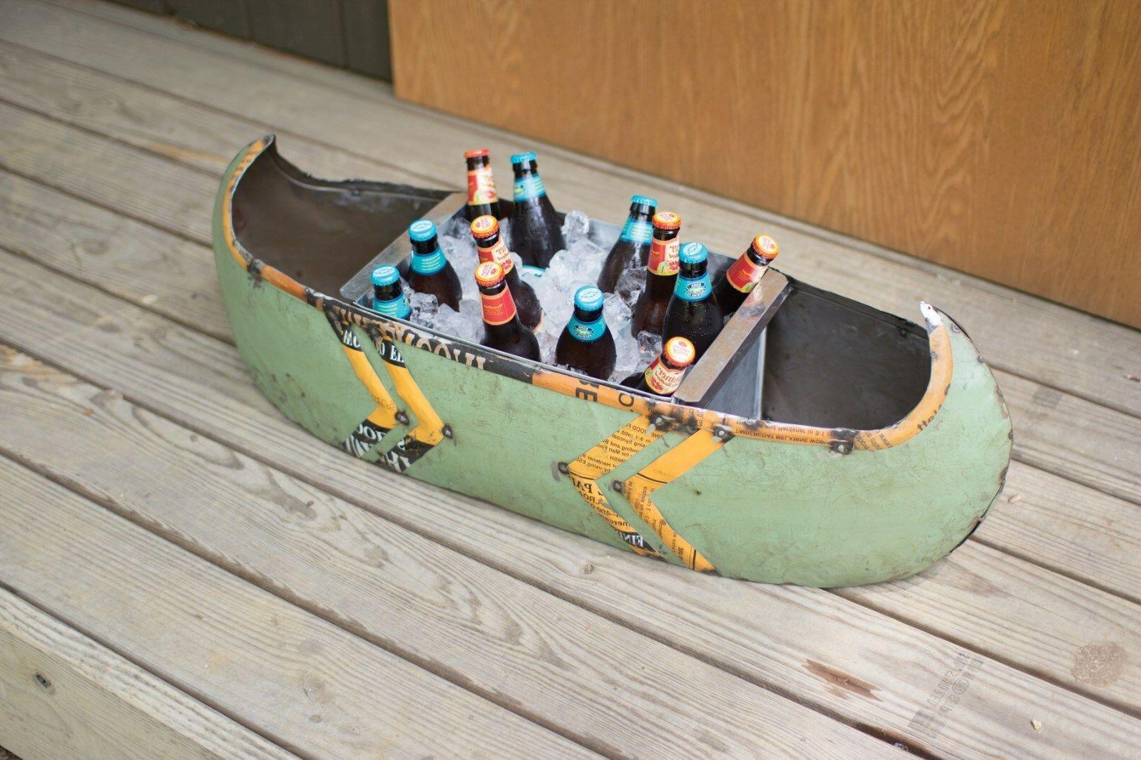 Metal Canoe Boat Planter Cooler Art Garden Decor