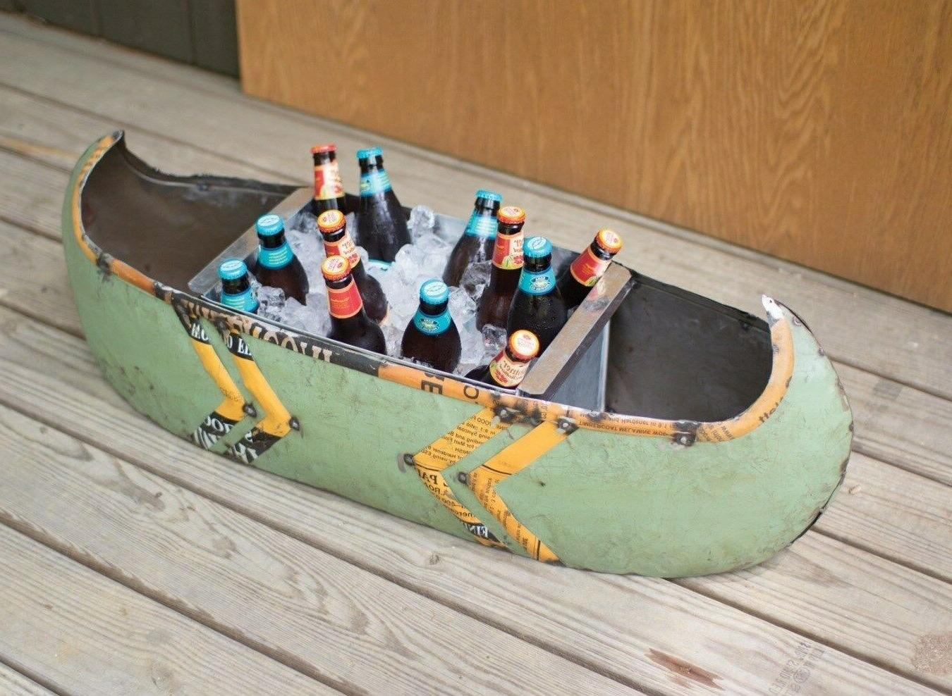 metal canoe boat planter cooler ice chest