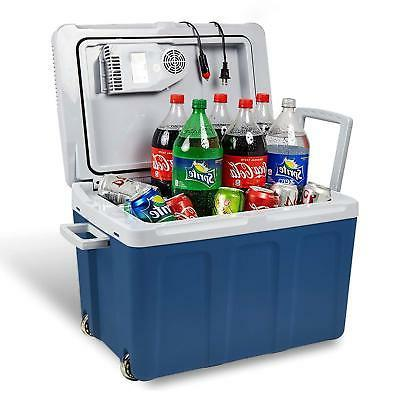 new hard blue travel electric cooler