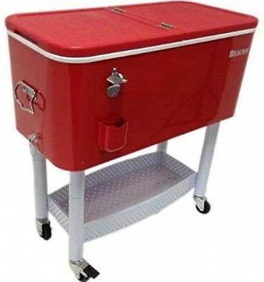 Outdoor Bar Cart With Cooler Red Portable Bar Carts On Wheel