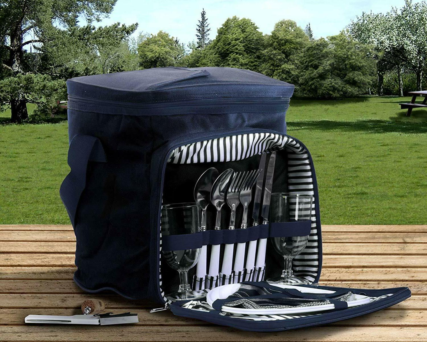 Picnic Basket For 2 Camping Wine Portable Outdoor Zipper Acc