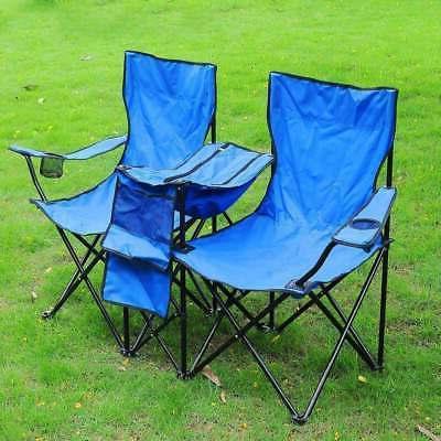 Double Folding Chair Portable Picnic Cooler Camping Beach Ta