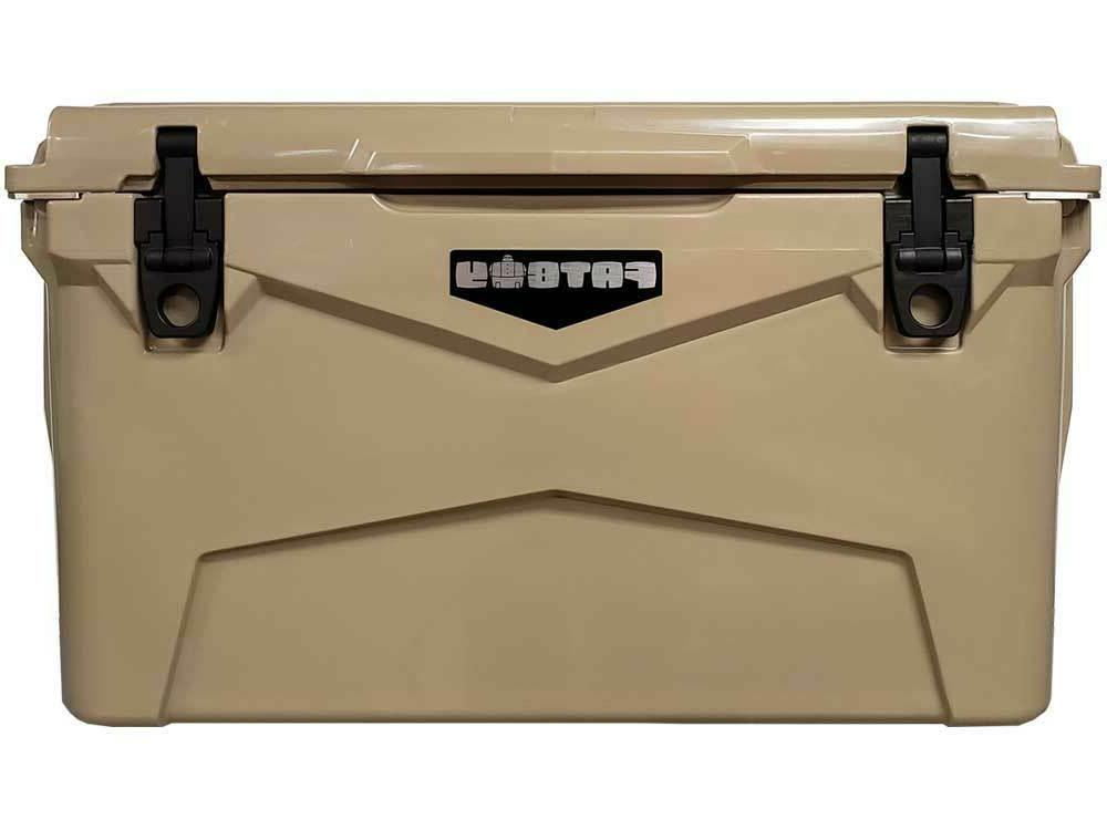 rugged ice chest roto molded cooler tan