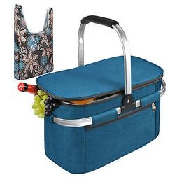 Large Insulated Picnic Basket Leakproof Collapsible Portable