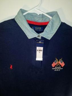 NWT Polo Ralph Lauren Shirt Men LT Navy Denim Collar Flags 4