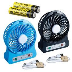 Portable Rechargeable LED Light Fan Air Cooler Mini Desk USB