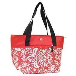 Red Damask Igloo Large Cooler 30 Can Shopper Tote Bag