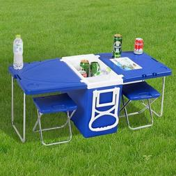 Rolling Cooler Table Picnic 2 Chairs Camping Tailgating Beac
