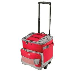 Rolling Cooler With Telescopic Handle - 60 Can Capacity-Red-