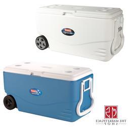 Wheeled Cooler Ice Chest 100 Quart Heavy Duty Plastic Wheel