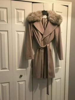 T Tahari Wrap Coat with Removable Faux Fur Collar - NWT